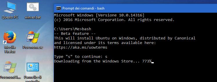 Windows 10 bash installazione con prompt DOS