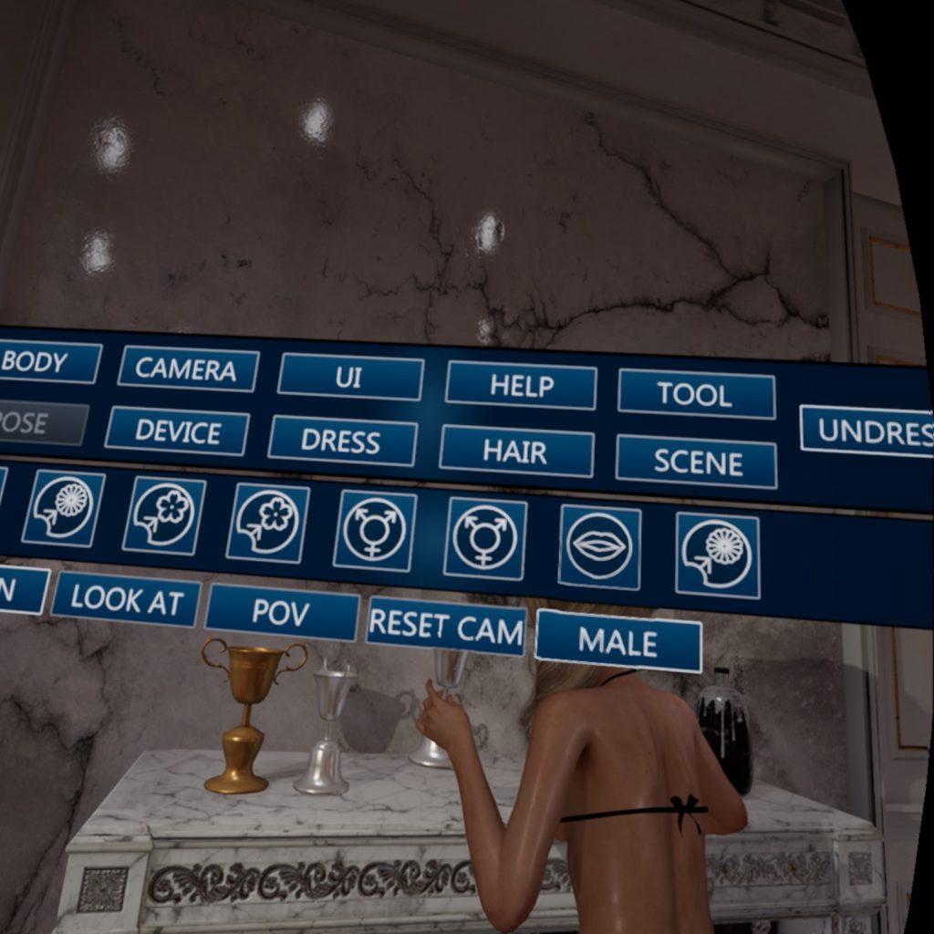 Menu di Fallen Doll, selezione di varie opzioni, scene, posizioni, azioni. Screenshot VR