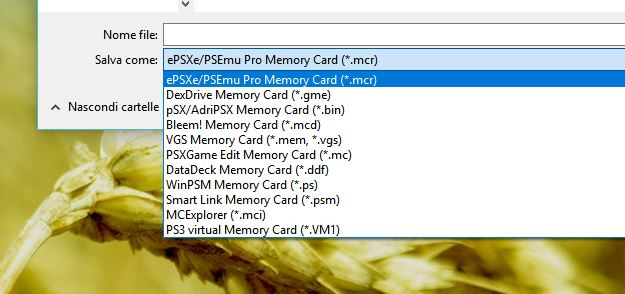 Formati salvataggio memory card per vari emulatori