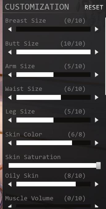 Opzioni di customizzazione Fallen Doll, screenshot dalla versione Desktop